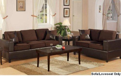 Bobkona Seattle Microfiber Sofa And Loveseat 2 Piece Set