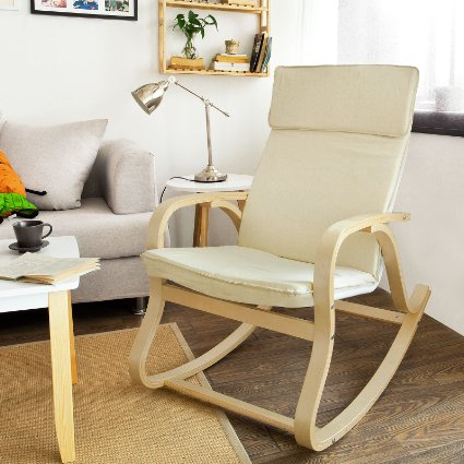 Sobuy comfortable relax rocking chair lounge chair with cotton fabric