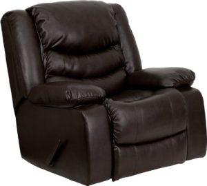 Flash Furniture MEN-DSC01078-BRN-GG Plush Brown Leather Rocker Recliner