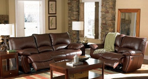 Recliner Sofa Couch in Brown Leather Match Review