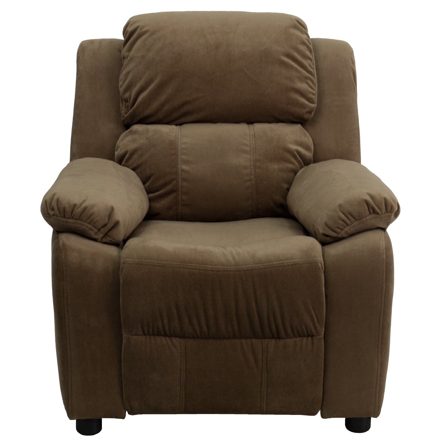 Deluxe Heavily Padded Contemporary Brown Microfiber Kids Recliner