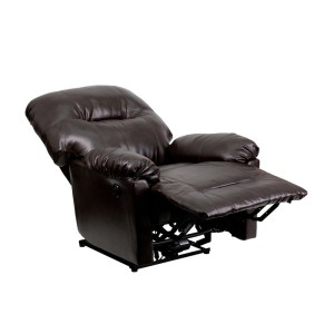 Flash Furniture Contemporary Bentley Brown Leather Chaise Power Recliner
