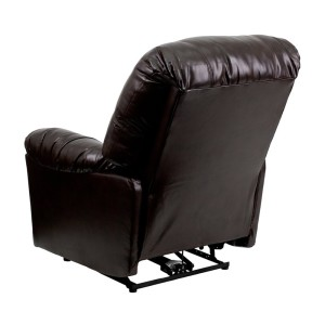 Flash Furniture Contemporary Bentley Brown Leather Chaise Power Recliner Back