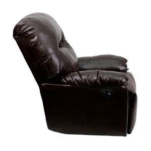 Flash Furniture Contemporary Bentley Brown Leather Chaise Power Recliner Side