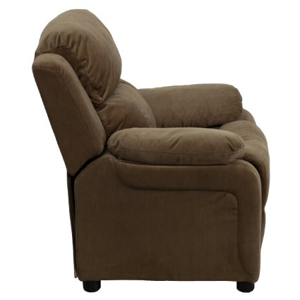 Deluxe-Heavily-Padded-Contemporary-Brown-Microfiber-Kids-Recliner-With-Storage-Arms-View1