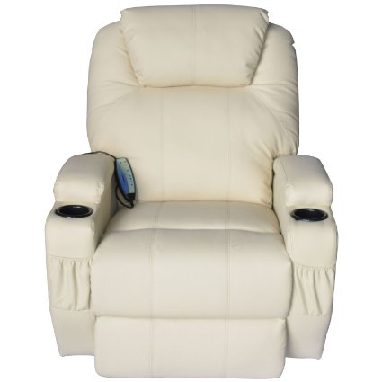 HomCom Deluxe Heated Vibrating PU Leather Massage Recliner  ...