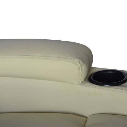 HomCom-Deluxe-Heated-Vibrating-PU-Leather-Massage-Recliner-Chair -Cream-View2