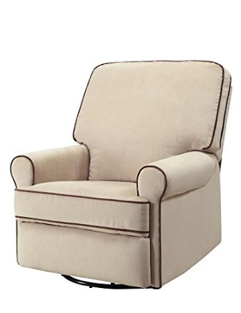 Pulaski-Birch-Hill-Swivel-Glider-Recliner,-Doe-With-Coffee-Piping-View2