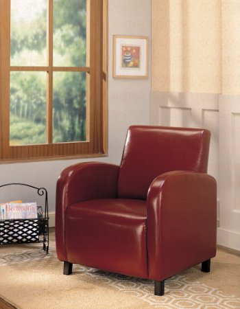 Coaster-900335-Vinyl-Accent-Chair,-Red-View