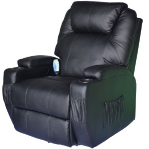 HomCom Deluxe Heated Vibrating Leather Massager Recliner