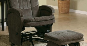 600159 2PC Modern Swivel Gliding, Rocking Recliner Chair With Metal Ottoman In Choco