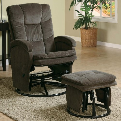 600159 2PC Modern Swivel Gliding, Rocking Recliner Chair With Metal Ottoman