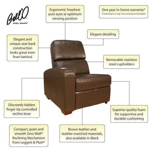 Bello HTS101BN Left-Arm Reclining Chair (Brown)3