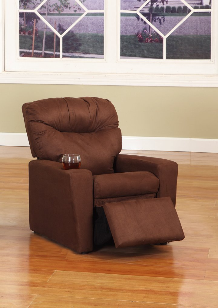 Dark Brown Microfiber Childrens Kids Recliner Chair With Cup Holder1
