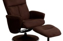 Flash Furniture Contemporary Microfiber Recliner and Ottoman with Circular Microfiber Wrapped Base, Brown, 42-Inch