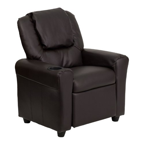 Flash Furniture DG-ULT-KID-BRN-GG Contemporary Brown Vinyl Kids Recliner with Cup Holder and Headrest1