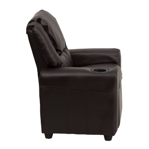 Flash Furniture DG-ULT-KID-BRN-GG Contemporary Brown Vinyl Kids Recliner with Cup Holder and Headrest2