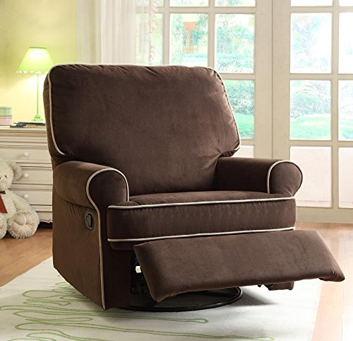 Pulaski Birch Hill Swivel Glider Recliner, Coffee with Doe Piping3