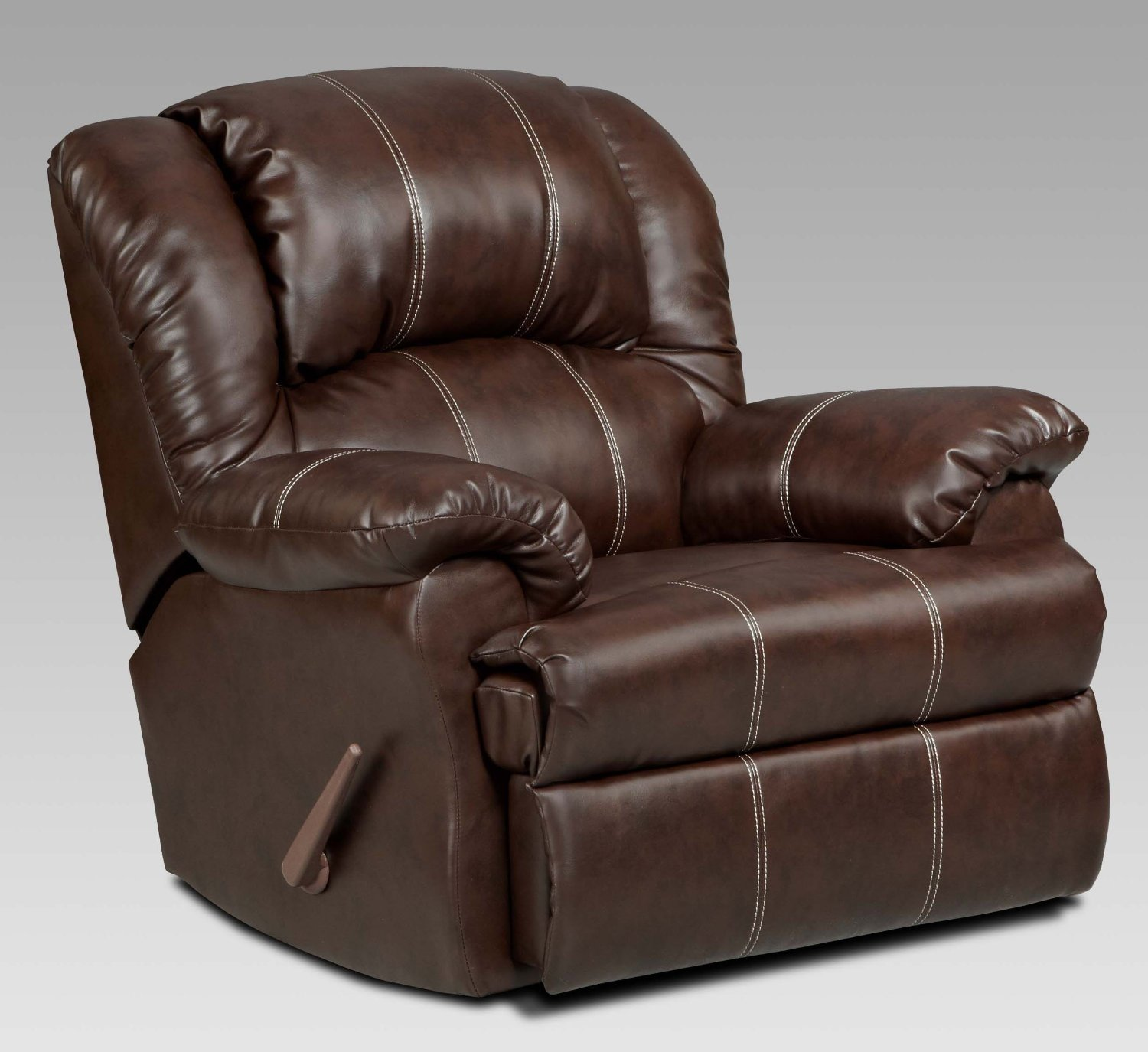 Roundhill Furniture Brandan Bonded Leather Dual Rocker Recliner Chair, Oversize, Brown1