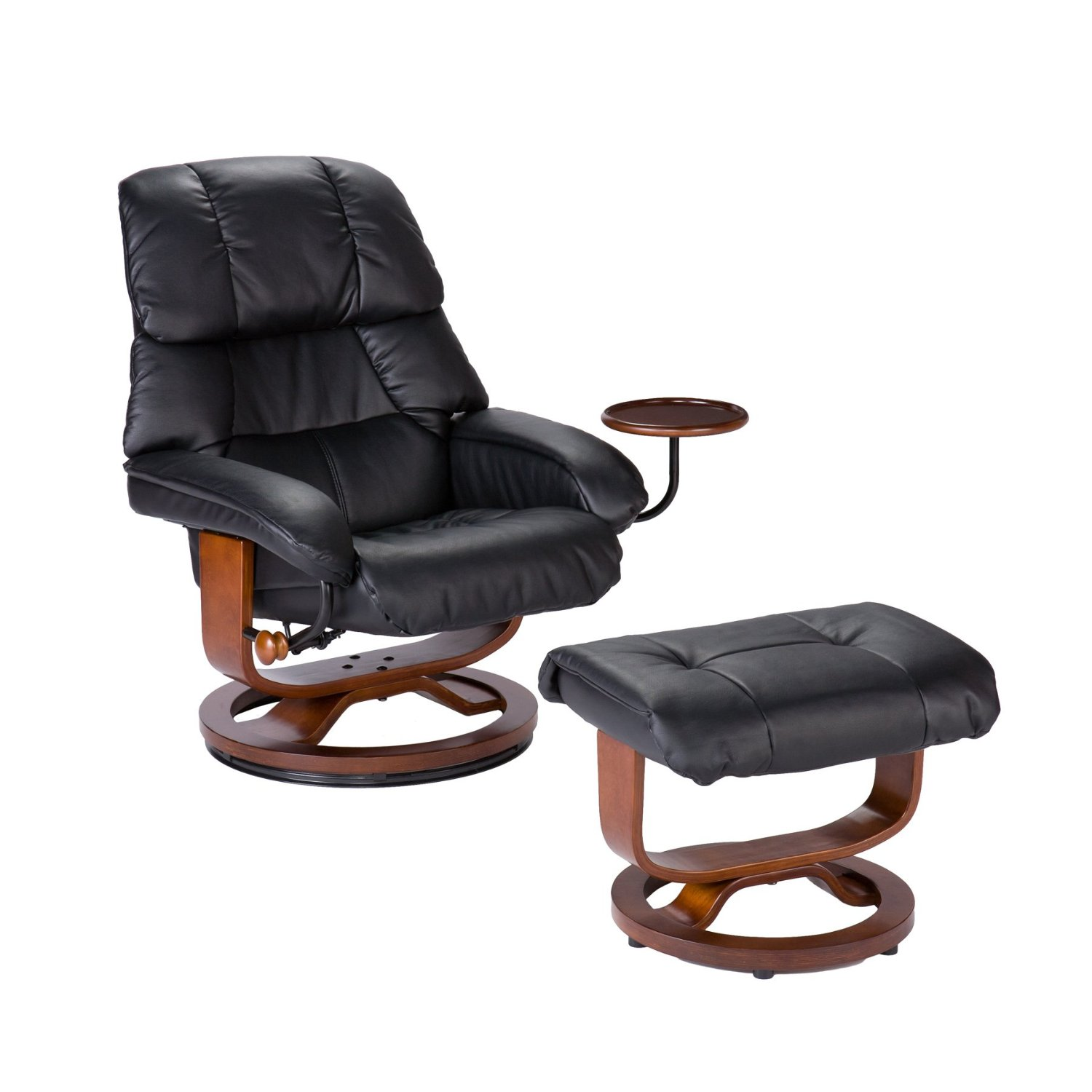 Southern Enterprises High Back Leather Recliner and Ottoman, Black1