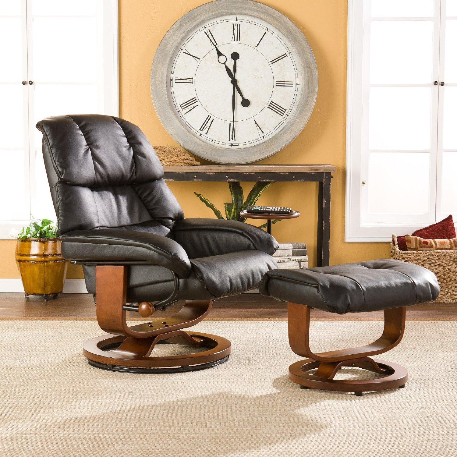 Southern Enterprises High Back Leather Recliner and Ottoman, Black2