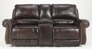 Double Power Recliner Loveseat w-Console in Saddle - Signature Design by Ashley Furniture-3