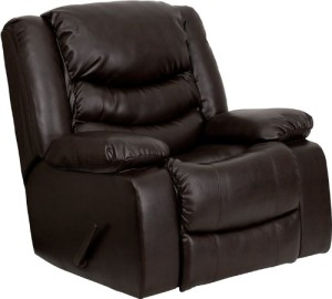 Flash Furniture MEN-DSC01078-BRN-GG Plush Brown Leather Rocker Recliner-1