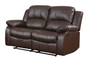 Homelegance 9700BRW-2 Double Reclining Loveseat, Brown Bonded Leather-1