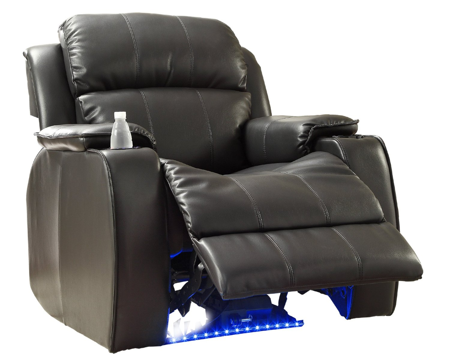 Homelegance 9745BLK-1 Jimmy Collection Upholstered Power Reclining Massage Chair, Black Bonded Leather-2