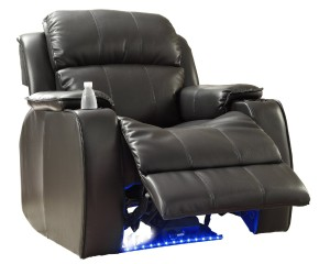 Homelegance 9745BLK-1 Jimmy Collection Upholstered Power Reclining Massage Chair, Black Bonded Leather-3