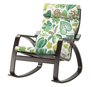 Ikea Poang Rocking Chair Black Brown with Cushion-2