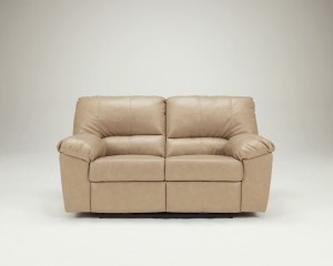Neutral Bonded Leather Match Power Reclining Loveseat-2