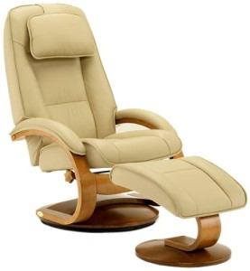 Oslo Collection 52-LO3-32-103 Swivel Recliner and Ottomon in Cobblestone Leather with a Walnut Finish-3
