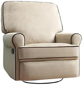 Pulaski Birch Hill Swivel Glider Recliner, Doe with Coffee Piping-2