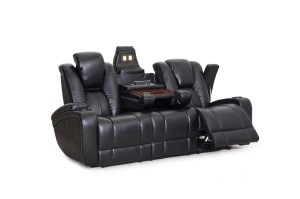 SeatCraft Transformer Reclining Sofa with Power and Drop Down Table, Brown-1