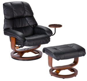 Southern Enterprises High Back Leather Recliner and Ottoman, Black-3