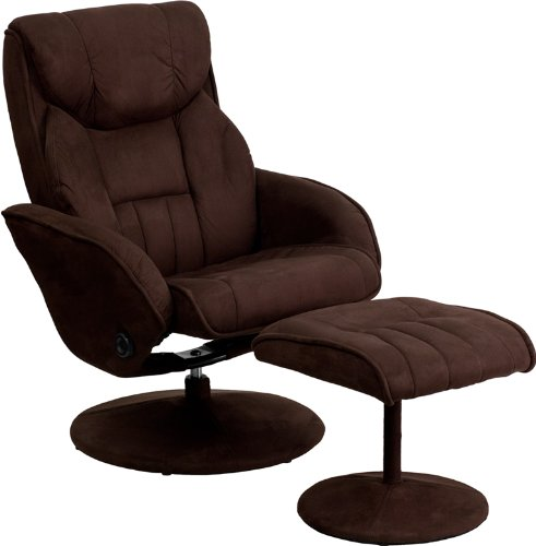 Ottoman with Circular Microfiber Wrapped Base - Office Recliner Chair