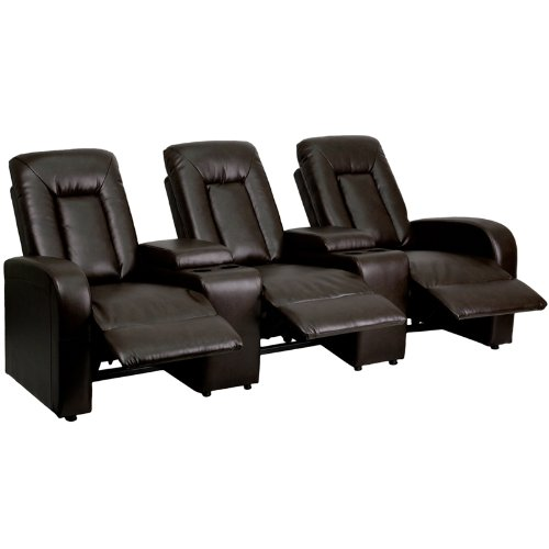 Flash Furniture 3-Seat Brown Leather Home Theater Recliner