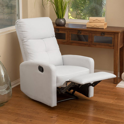 Teyana White Leather Recliner Club Chair - Small Leather Recliners