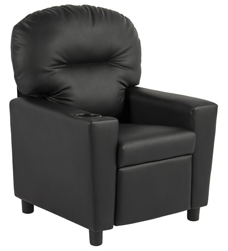 BCP Contemporary Black Leather Kids Recliner - Childrens Recliner