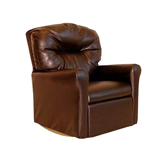 Dozydotes Classic Rocker Recliner - Dozydotes 11531 Contemporary Pecan Brown Leather